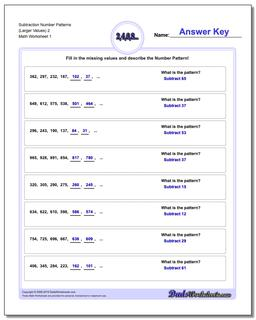 Number Patterns Subtraction Worksheet (Larger Values) 2
