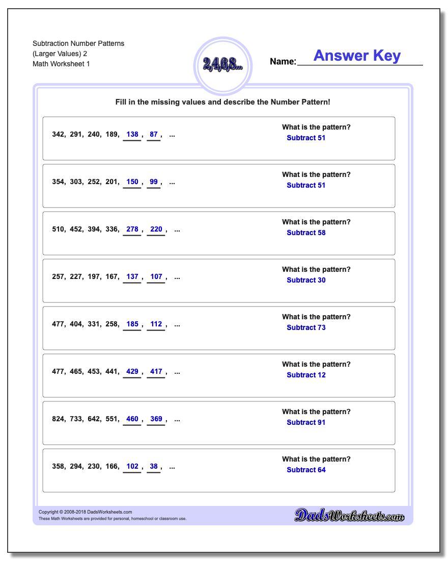 Uncategorized Math Number Patterns Worksheets subtraction number patterns worksheet larger values 2