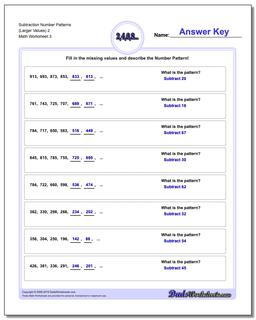 Subtraction Worksheet Number Patterns (Larger Values) 2 #Number #Patterns #Worksheet