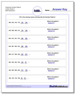Subtraction Worksheet Number Patterns (Larger Values) 2 #Number #Patterns #Worksheet