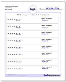 Number Patterns Subtraction Worksheet (Larger Values)