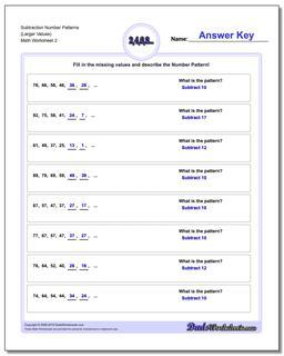Subtraction Worksheet Number Patterns (Larger Values) #Number #Patterns #Worksheet