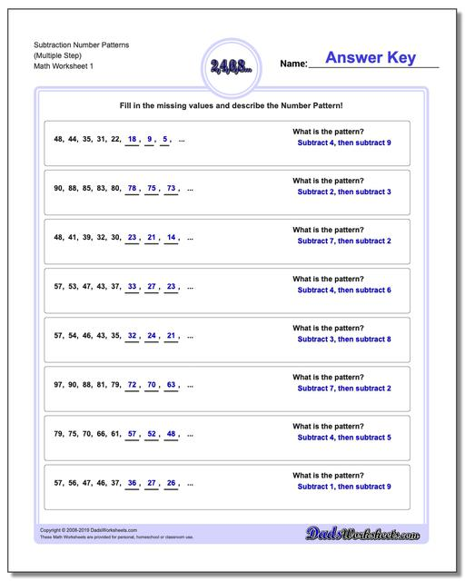Number Patterns Subtraction Worksheets (Multiple Step)