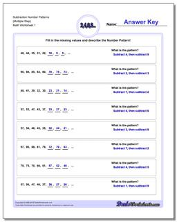 Number Patterns Subtraction Worksheet (Multiple Step)