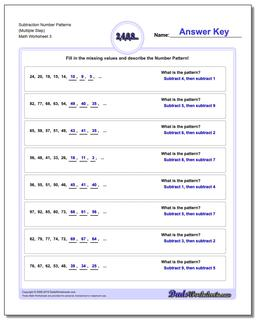 Subtraction Worksheet Number Patterns (Multiple Step) #Number #Patterns #Worksheet