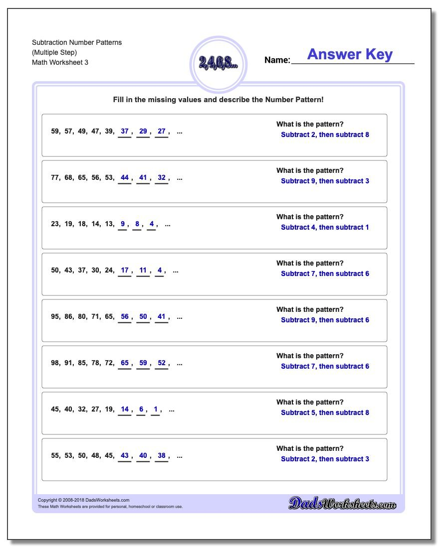 Subtraction Worksheet Number Patterns (Multiple Step)