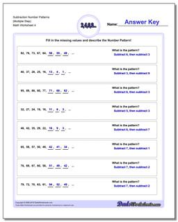 Subtraction Worksheet Number Patterns (Multiple Step) #Number #Patterns #Worksheet
