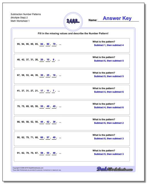 Number Patterns Subtraction Worksheets (Multiple Step) 2