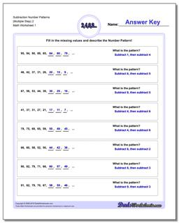 Number Patterns Subtraction Worksheet (Multiple Step) 2