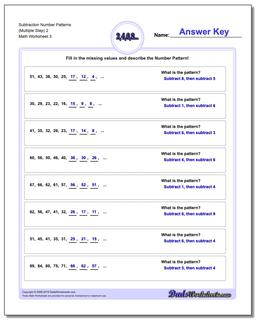 Subtraction Worksheet Number Patterns (Multiple Step) 2 #Number #Patterns #Worksheet