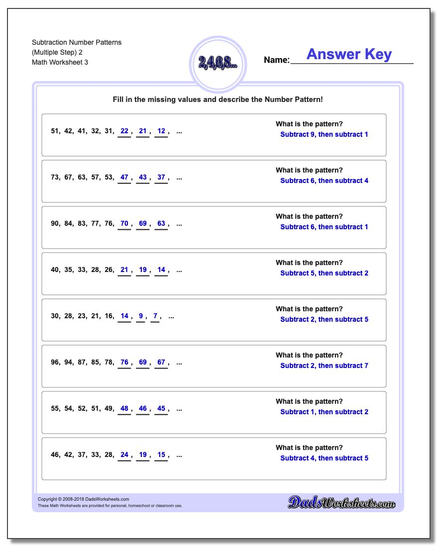 Subtraction Worksheet Number Patterns (Multiple Step) 2