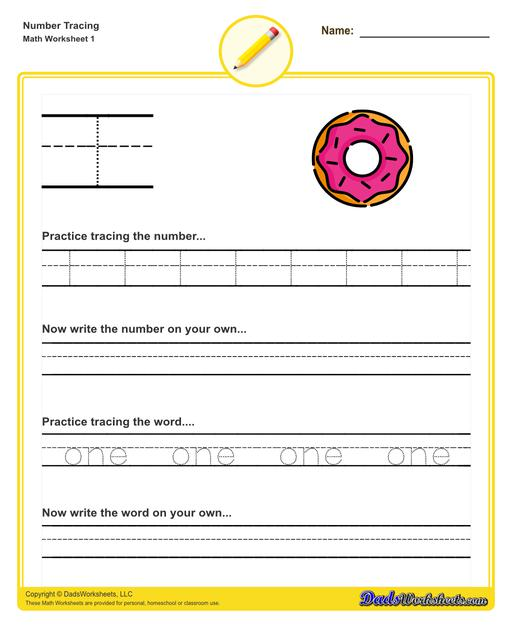 Number tracing worksheets for preschool students to practice writing numbers in their numeric and written forms.  Number Tracing V1