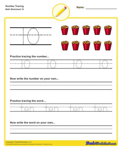 Number tracing worksheets for preschool students to practice writing numbers in their numeric and written forms.  Number Tracing V10