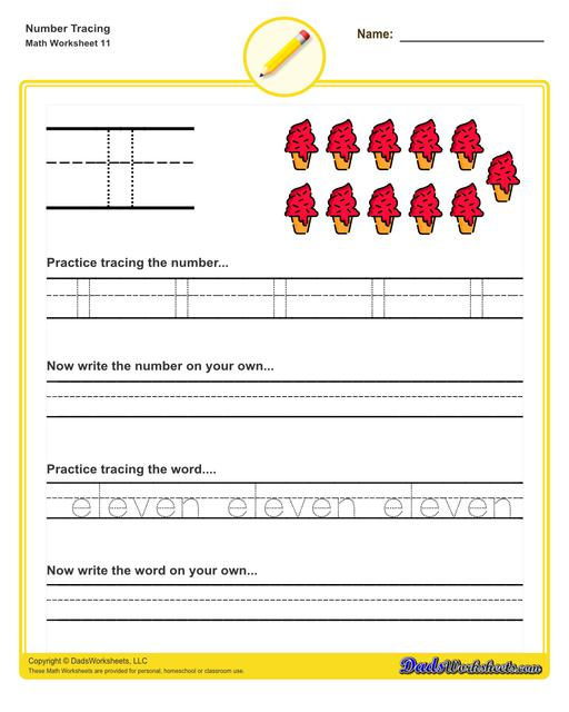 Number tracing worksheets for preschool students to practice writing numbers in their numeric and written forms.  Number Tracing V11