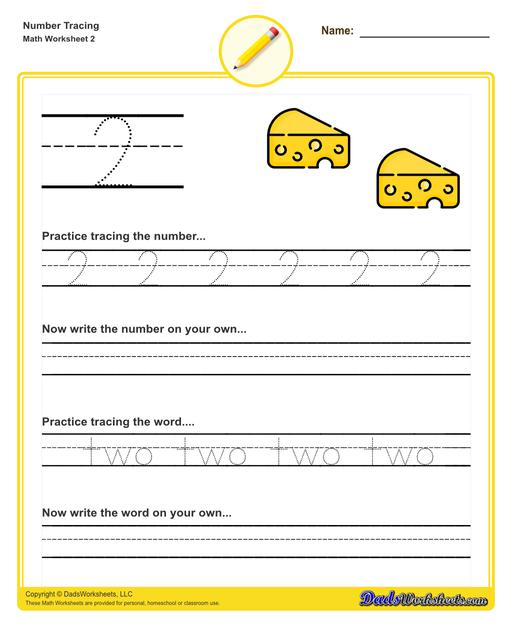 Number tracing worksheets for preschool students to practice writing numbers in their numeric and written forms.  Number Tracing V2