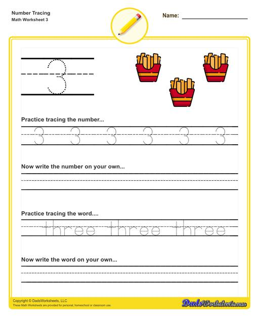 Number tracing worksheets for preschool students to practice writing numbers in their numeric and written forms.  Number Tracing V3
