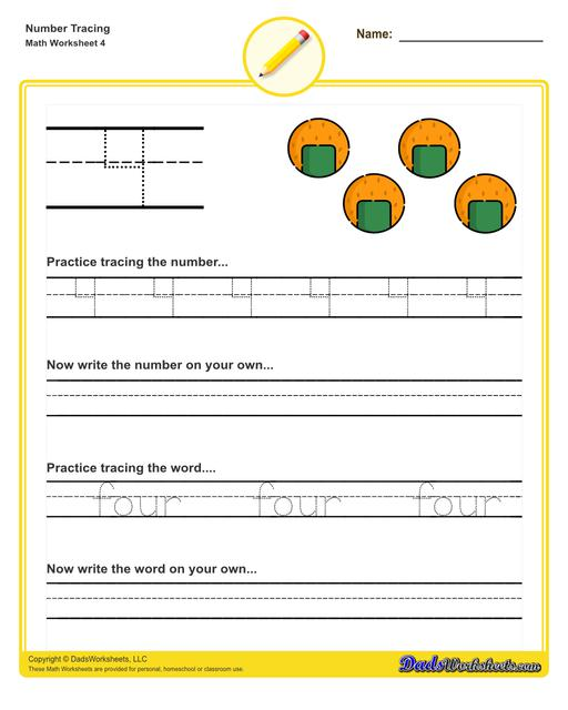 Number tracing worksheets for preschool students to practice writing numbers in their numeric and written forms.  Number Tracing V4