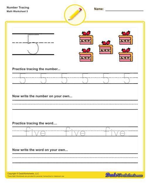 Number tracing worksheets for preschool students to practice writing numbers in their numeric and written forms.  Number Tracing V5
