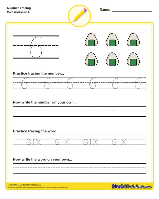 Number tracing worksheets for preschool students to practice writing numbers in their numeric and written forms.  Number Tracing V6