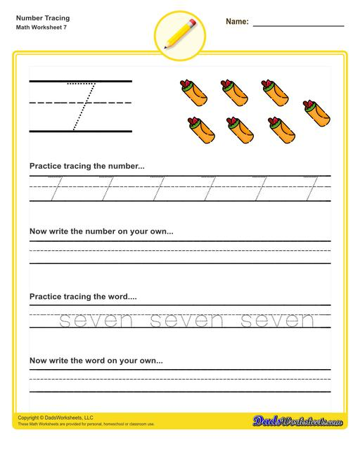 Number tracing worksheets for preschool students to practice writing numbers in their numeric and written forms.  Number Tracing V7