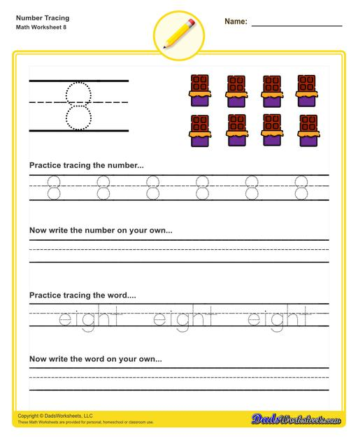 Number tracing worksheets for preschool students to practice writing numbers in their numeric and written forms.  Number Tracing V8