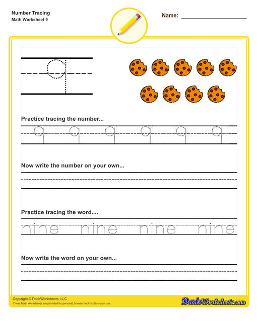 Number tracing worksheets for preschool students to practice writing numbers in their numeric and written forms.  Number Tracing V9