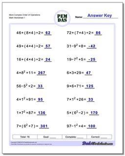 Order of Operations Worksheet More Complex