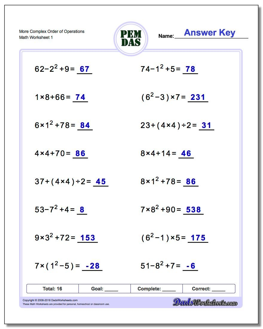 worksheet Order Of Operations Worksheets Grade 5 order of operations worksheet more complex