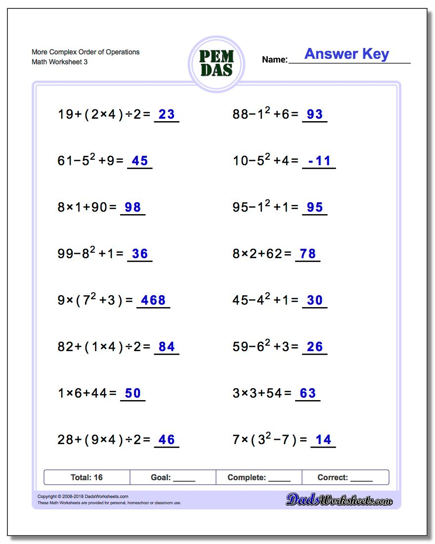 More Complex Order of Operations Worksheet