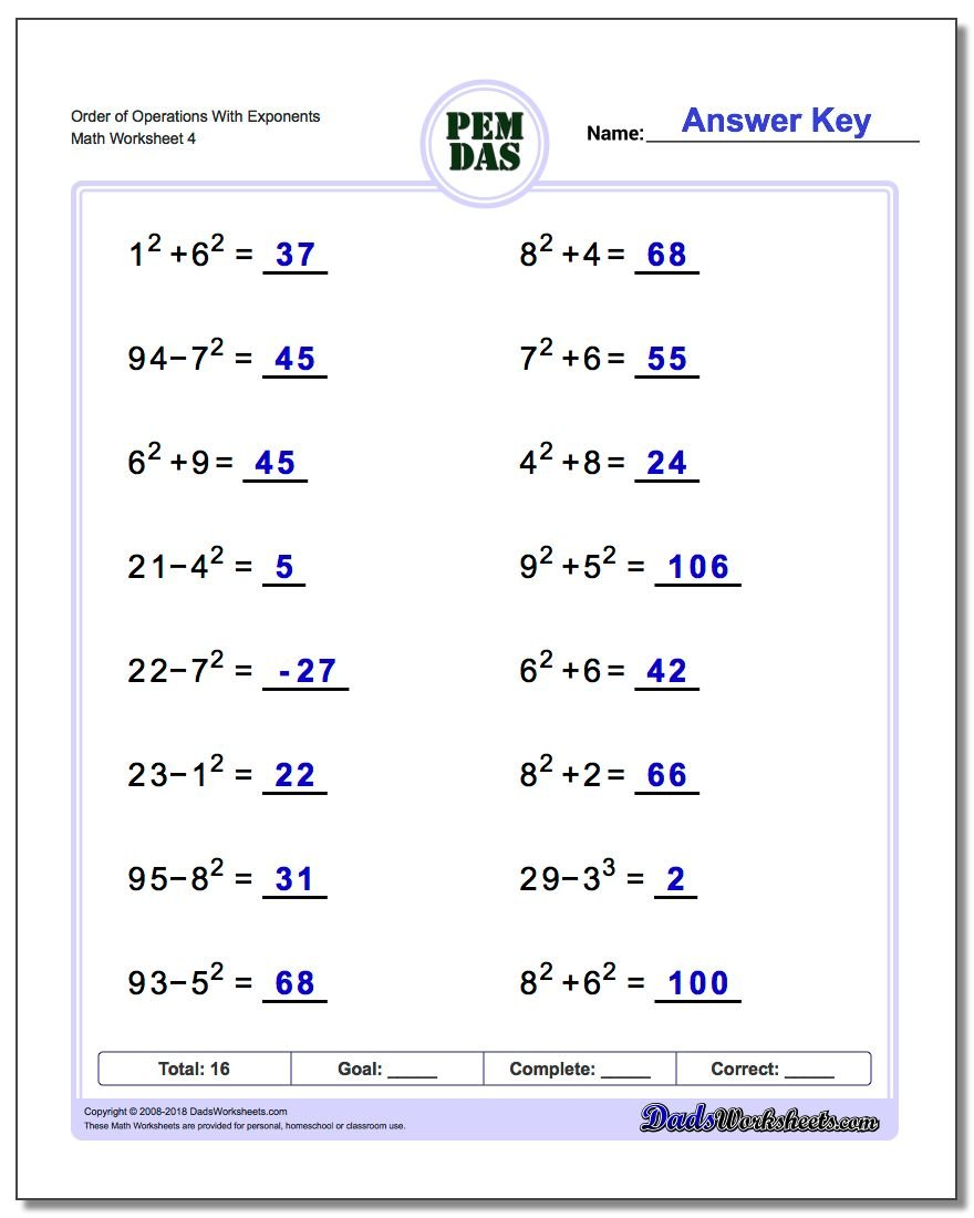 Order of Operations With Exponents Worksheet