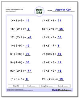 Grade 6Order of Operations Worksheets