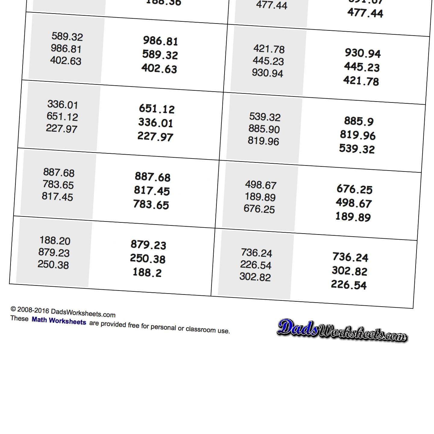 Math Worksheets Least To Greatest free printable math worksheets – Ordering Fractions and Decimals from Least to Greatest Worksheet