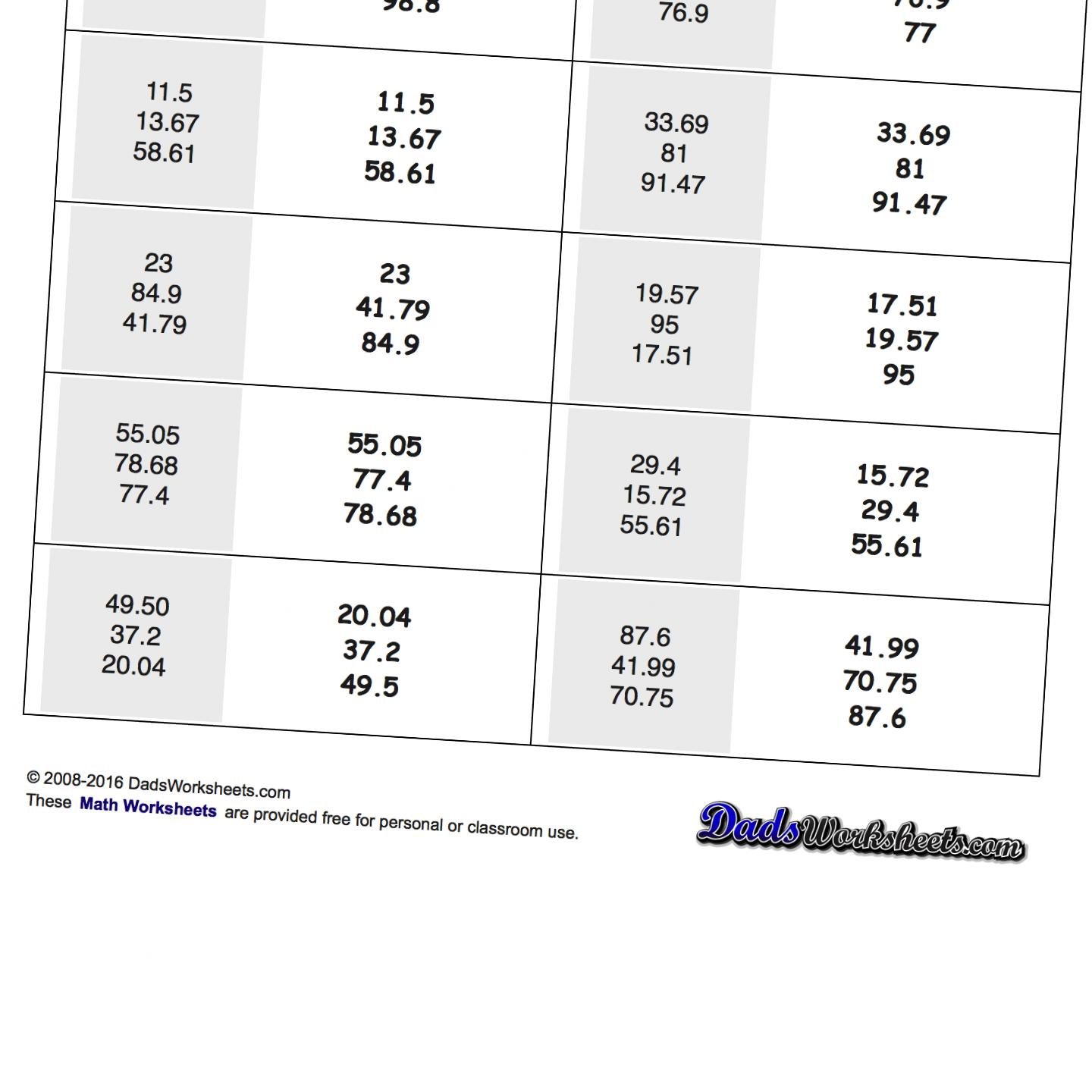 math worksheet : math worksheets place value ordering with decimals : Ordering Decimals From Least To Greatest Worksheet