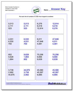 Ordering Numbers Worksheet More Complex in Greatest to Least Order