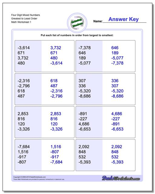 Ordering Numbers Worksheets Four Digit Mixed Greatest to Least Order