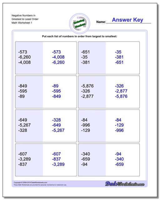 Ordering Numbers Worksheets Mixed Place Value Negative