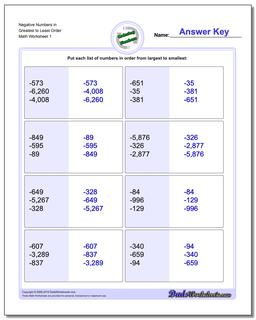 Ordering Numbers Worksheet Mixed Place Value Negative