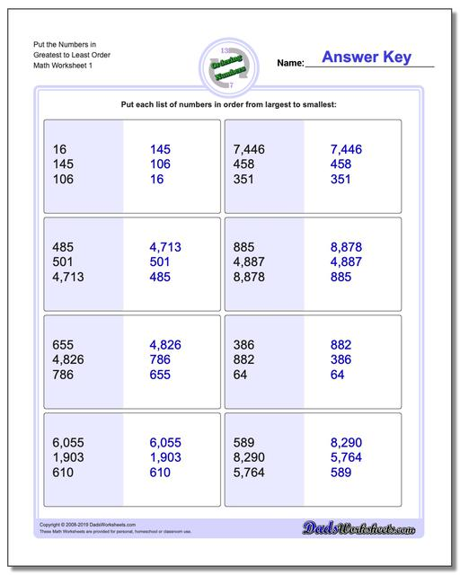 Ordering Numbers Worksheets Mixed Place Value