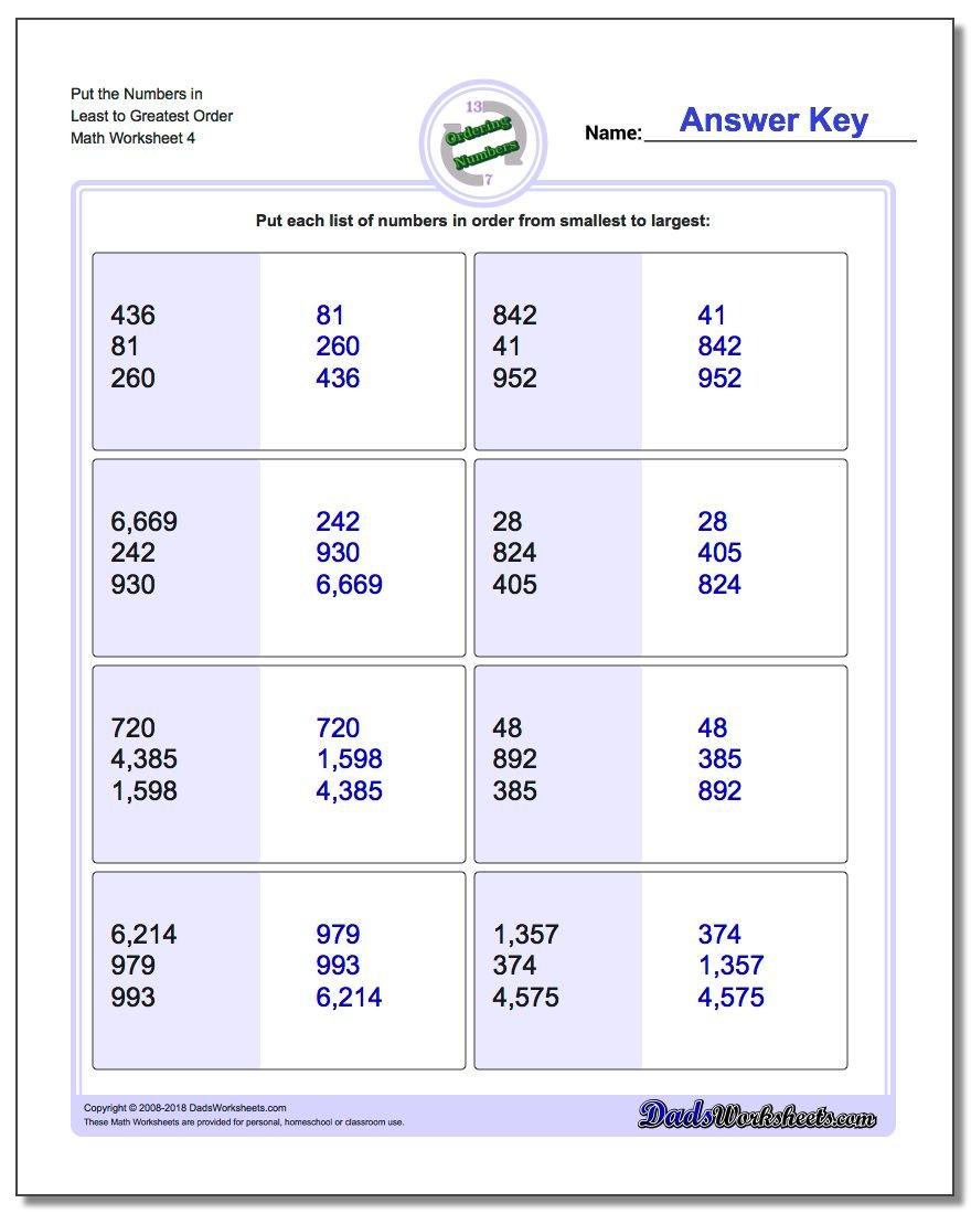 Put the Numbers in Least to Greatest Order Worksheet