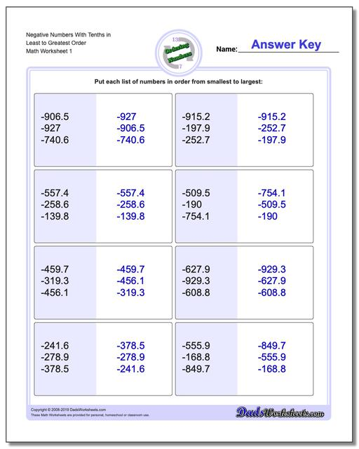 Ordering Numbers Worksheets Negative With Tenths in Least to Greatest Order