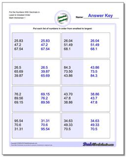 place value ordering with decimals ordering numbers worksheet put the with decimals in least to greatest order