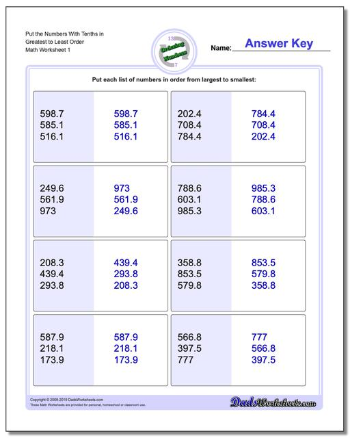 Ordering Numbers Worksheets Place Value With Decimals