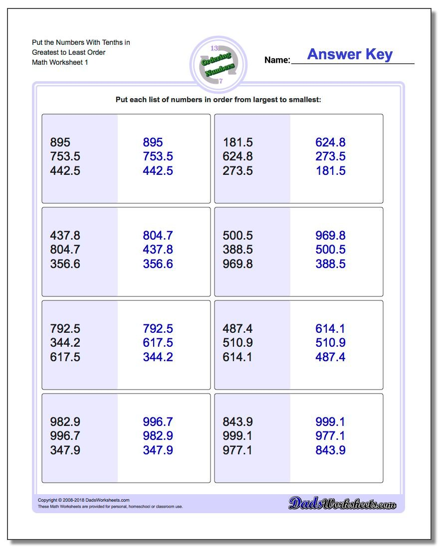 Numbers – Ordering and Comparing Decimals Worksheets