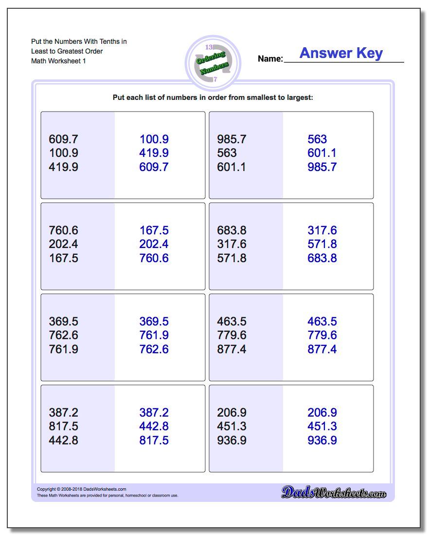 Place Value Ordering With Decimals – Decimal Tenths Worksheets
