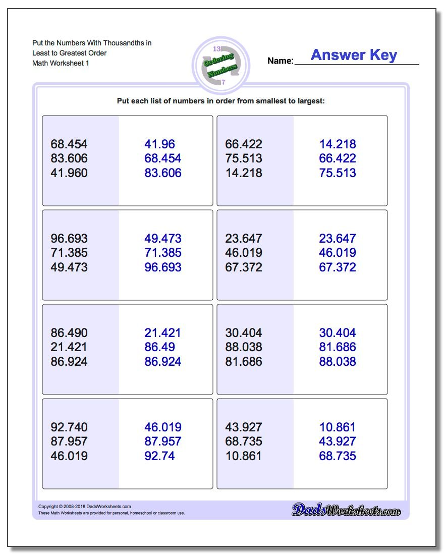 Free Worksheet Least To Greatest Worksheets ordering decimals from least to greatest worksheet 1 2 3 4