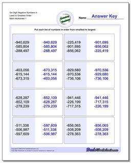 Ordering Numbers Worksheet Six Digit Negative in Least to Greatest Order