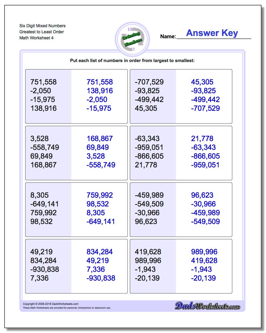 Six Digit Mixed Numbers Greatest to Least Order Worksheet