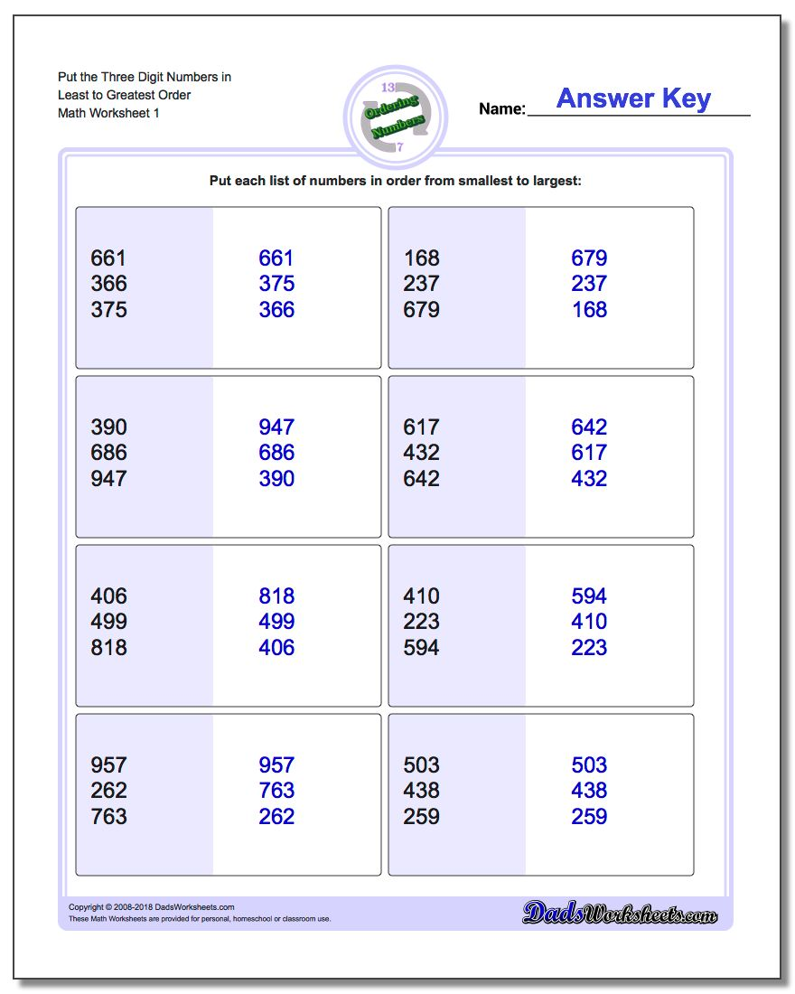 Ordering Numbers Worksheet Put the Three Digit in Least to Greatest Order