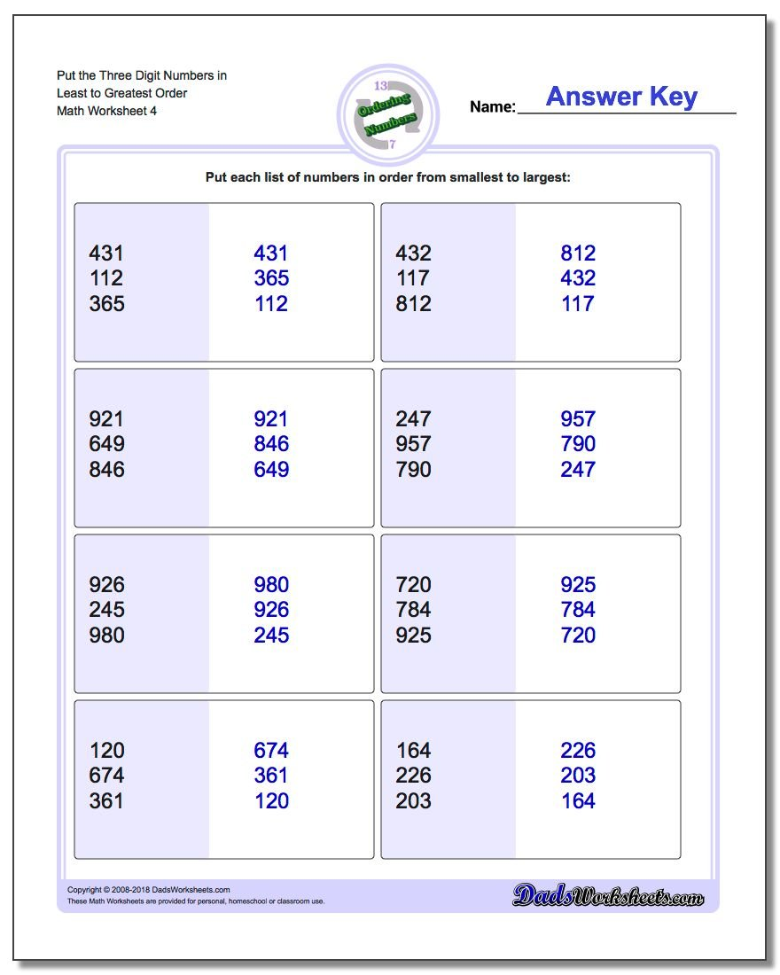 Put the Three Digit Numbers in Least to Greatest Order Worksheet