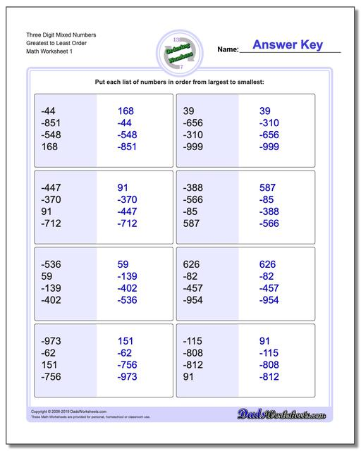Ordering Numbers Worksheets Three Digit Mixed Greatest to Least Order